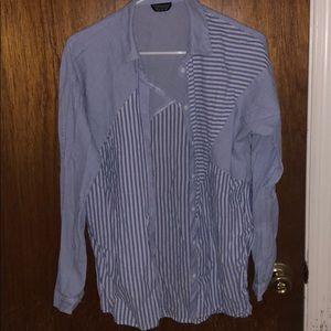 Topshop boyfriend button up striped blouse